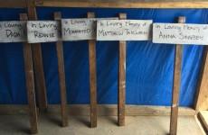 Grave markers seen in Sierra Leone.